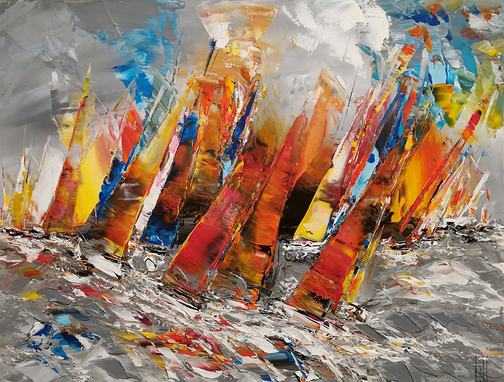 """F. Boutet, """"Voiliers 198"""""""