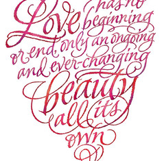 Lettering in heart shape