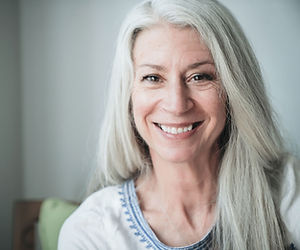 Smiling Mature Woman with Gray Hair