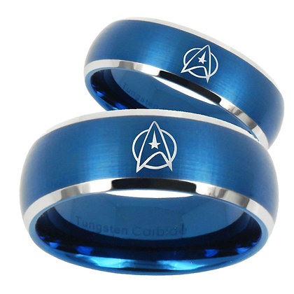 Bride and Groom Star Trek Dome Brushed Blue 2 Tone Tungsten Mens Ring Set
