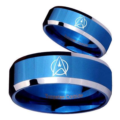 His Hers Star Trek Beveled Edges Blue 2 Tone Tungsten Mens Wedding Band Set