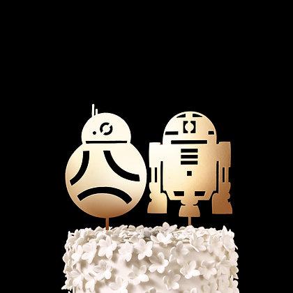 R2D2 and BB-8 - Star Wars Wedding Cake Topper, Keepsake Wedding Cake Toppers, N
