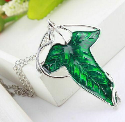 Vintage Lord of The Rings Green Leaf Elven Pin Brooch Pendant Chain Necklace HOT