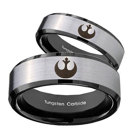His Hers Star Wars Rebel Alliance Beveled Brush Black 2 Tone Tungsten Mens Ring