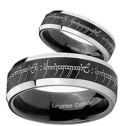 His Hers Lord Of The Ring Beveled Brush Black 2 Tone Tungsten Mens Ring Set