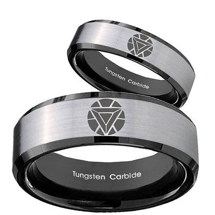 His Hers Iron Man Art Reactor Beveled Brush Black 2 Tone Tungsten Men's Ring Set