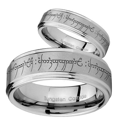 His Hers Lord Of The Ring Step Edges Brushed Tungsten Men's Wedding Band Set
