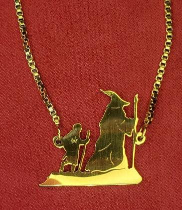 Lord of the Rings - The Hobbit Gandalf & Bilbo Silhouette Box Chain Bracelet