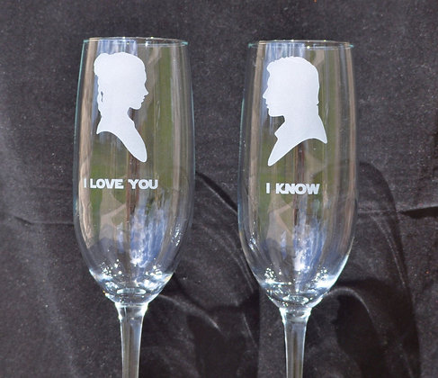 Star Wars inspired Glasses Your Choice for Star Wars Wedding, Couple Toast by J
