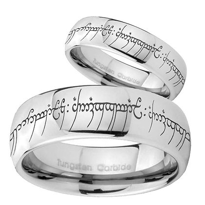 His and Hers Lord Of The Ring Mirror Dome Tungsten Mens Ring Personalized Set