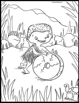 caveman coloring page, this orq coloring page, lori nichols colorning pages, sloth, prehistoric coloring pages, cave boy, elementary school, invent wheel