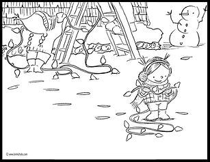 coloring book page Maple and Willow, lori nichols, Christmas decorating