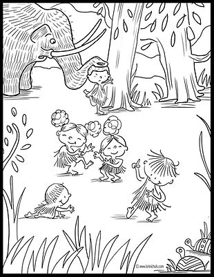 caveman coloring page, this orq coloring page, lori nichols colorning pages, sloth, prehistoric coloring pages, cave boy, elementary school, wooley