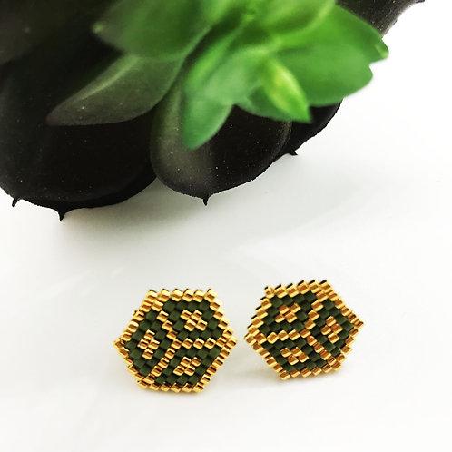 Boucles d'oreille puce HEXA dorées