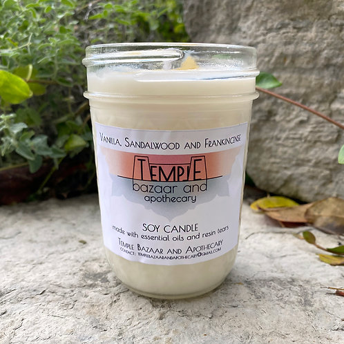 Vanilla, Sandalwood and Frankincense Soy Candle