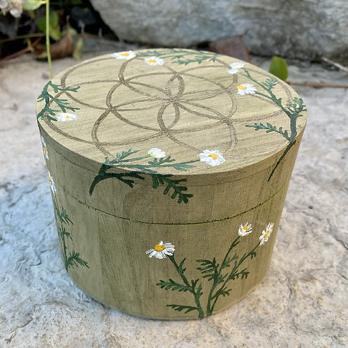Sacred Geometry and Chamomile Hand-painted Box