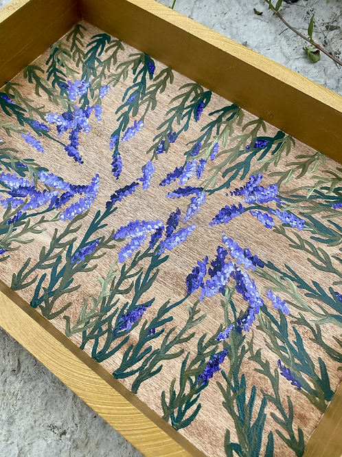 Lavender, hand-painted tray