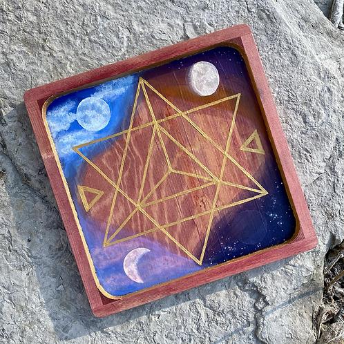 Handpainted Lunar Phase Crystal Grid Tray