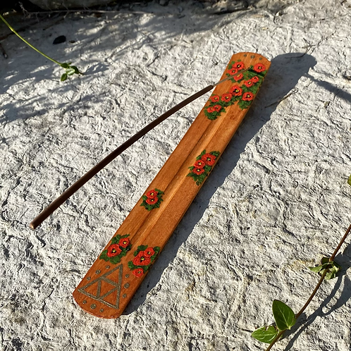 Hand Painted Wooden Incense Burner - Poppy and Sacred Geometry