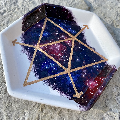 Hand Painted Galaxy Sacred Geometry Ceramic Tray