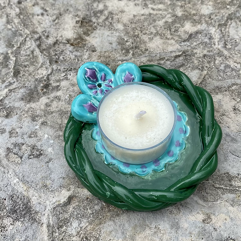Ceramic Incense and Tealight Holder - green, turquoise, purple