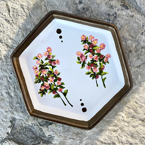 Hand Painted Wild Rose Ceramic Tray