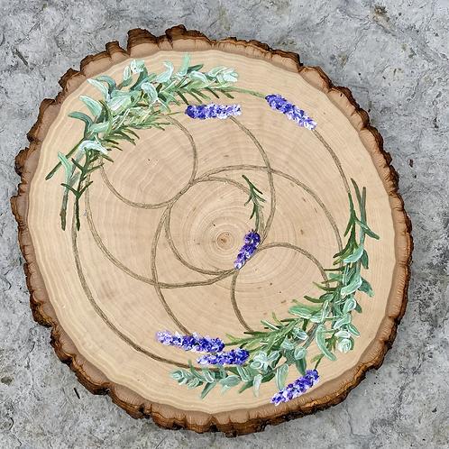 Wood slab crystal grid, Lavender and White Sage