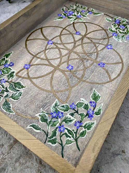 Periwinkle (Vinca) and Sacred Geometry hand-painted tray