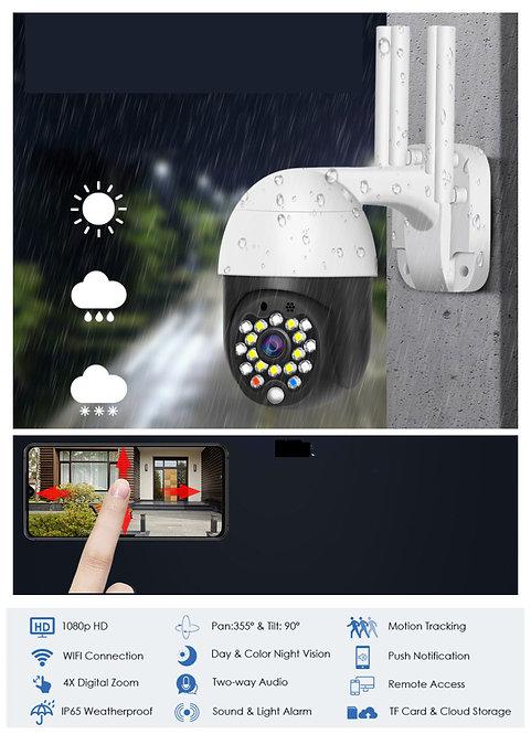 EsiCam Cámara de vigilancia Mini domo WiFi impermeable 1080P PTZ para exteriores
