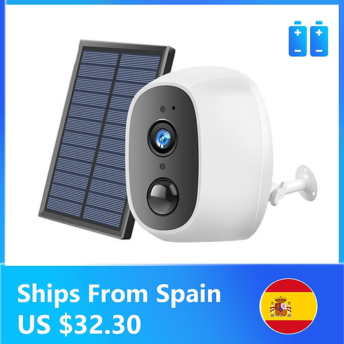 Solar Power Charging  WiFi Camera 1080P  Outdoor Security External Solar Panel