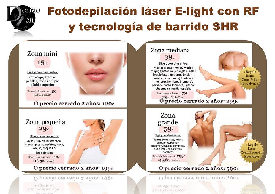 Diodo. Barrido , láser depilación SHR E_LIGHT Radiofrecuencia Málaga