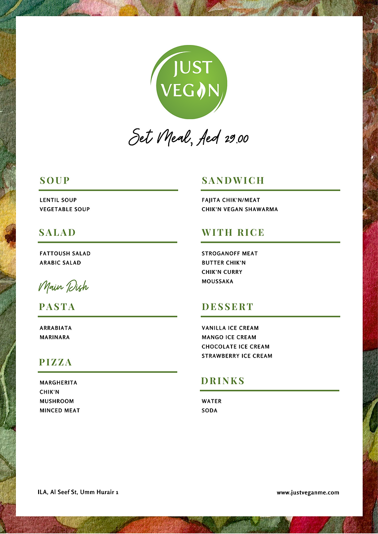 Just Vegan 29AED Set Meal