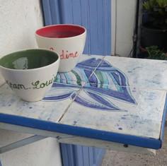 Carreaux et décor sur mesure pour table pliante d'extérieur
