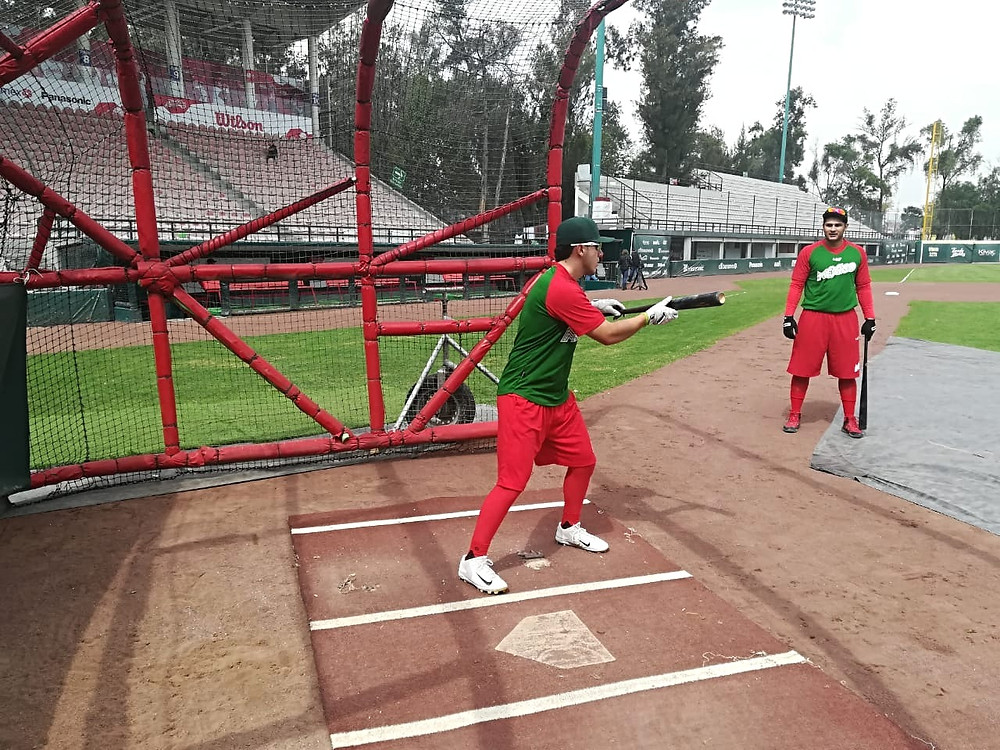 Selección Mexicana de Beisbol U23 en su última práctica en Estadios Fray Nano
