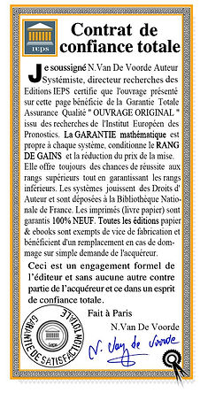 Garantie Contrat de Confiance totale des Editions IEPS