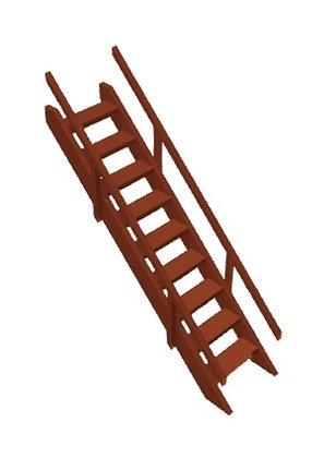 Пологая лестница с перилами