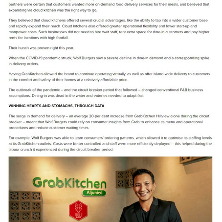 "Wolf Burgers featured in TODAYonline for ""Making Better Burgers with help of Cloud Kitchen"""