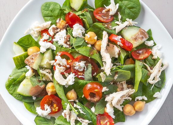 caprese chicken salad with cucumbers and tomatoes