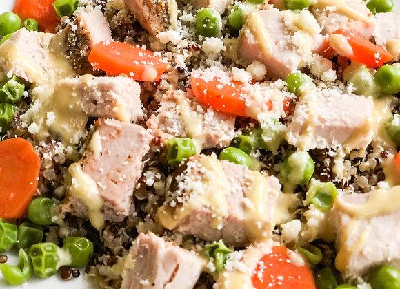 maple-dijon pork with vegetables and quinoa