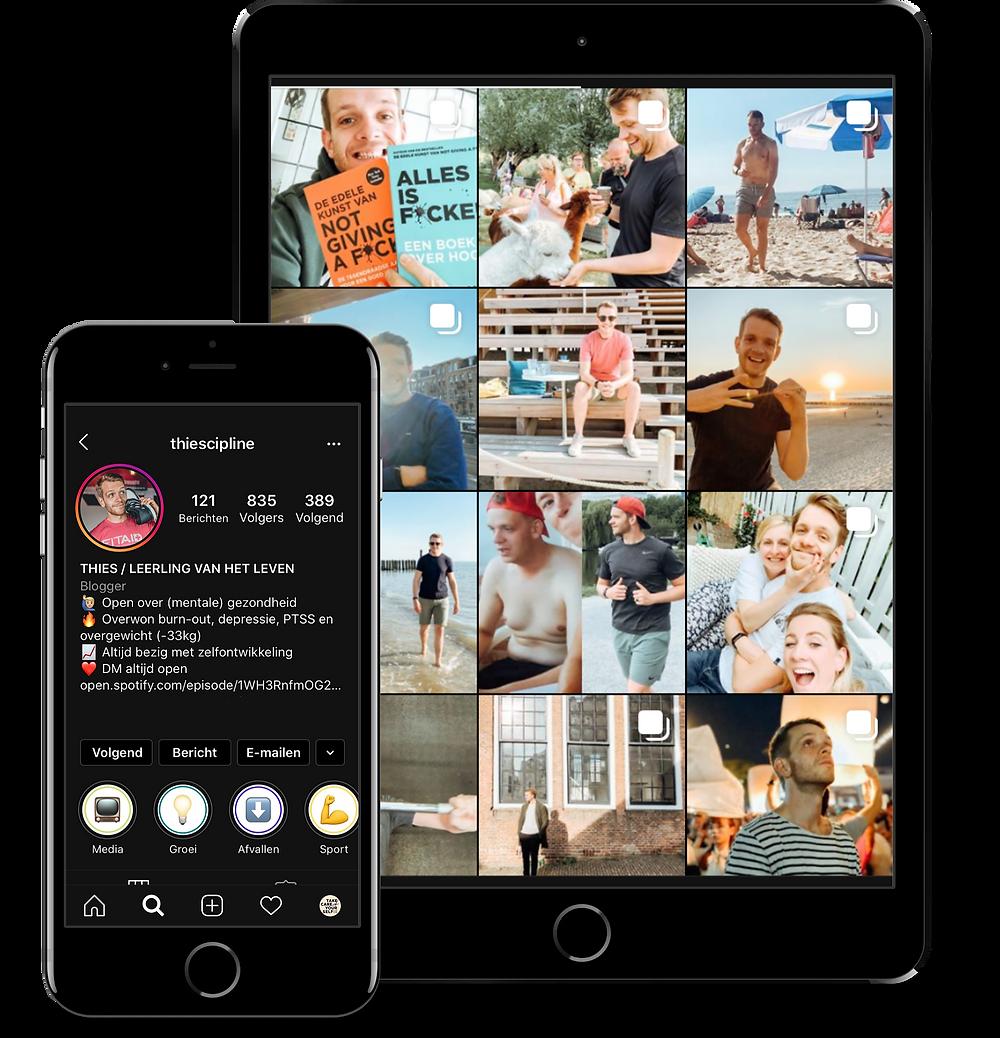 Mock-up Instagram Thies van Zadelhoff
