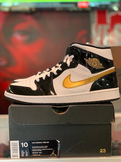 "Air Jordan 1 Retro Mid ""Patent Black White Gold"""