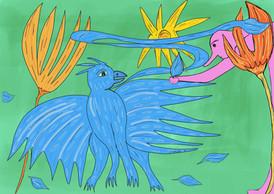 Mr Gum à la plume bleue