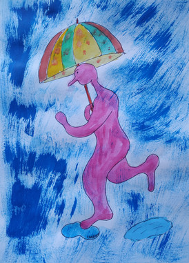 Monsieur Gum sous la pluie