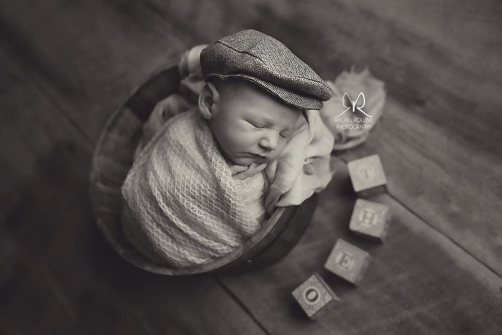 baby boy photo infant picture Grand Rapids newborn photographer Rachel Rollins, bucket shot