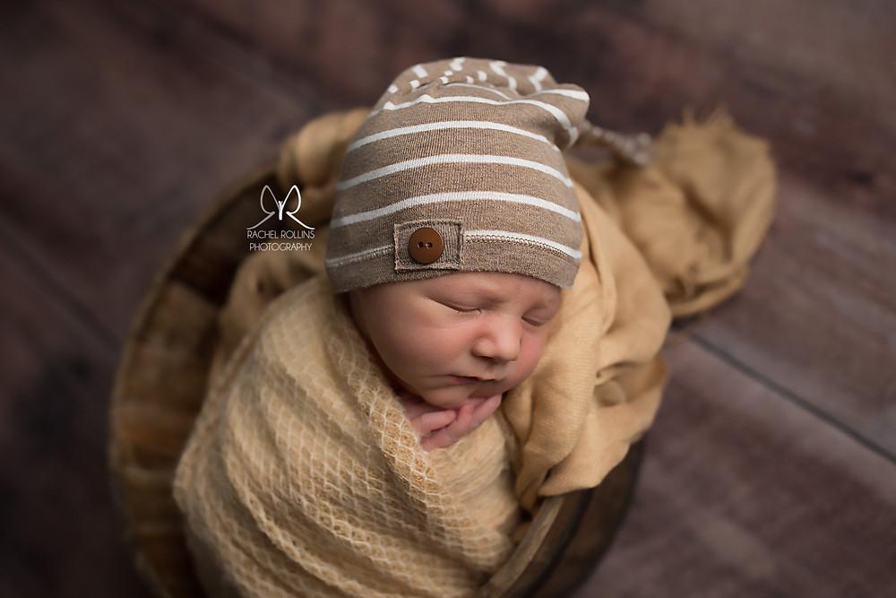 baby boy picture by Grand Rapids infant newborn photographer Rachel Rollins