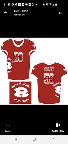 WARNER ROBINS FOOTBALL JERSEY (CARDINAL)