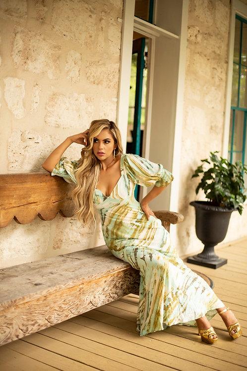 Bohemian olive dress