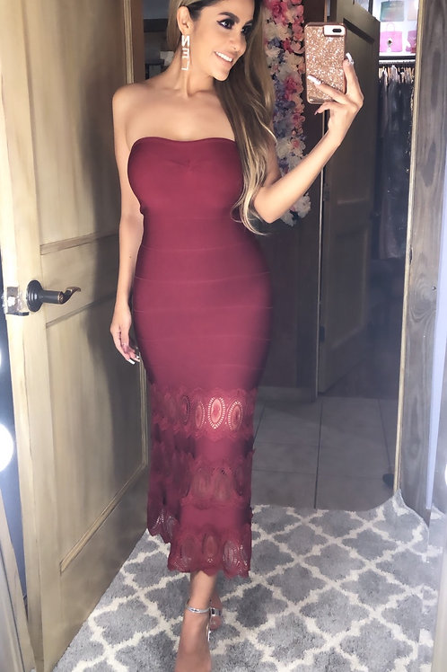 Burgundy strapless dress