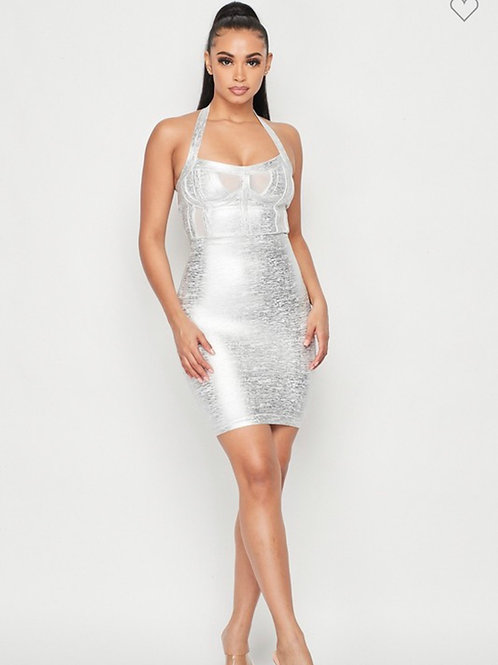 Miami girl silver dress