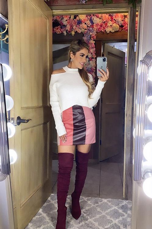 Color block vegan leather skirt